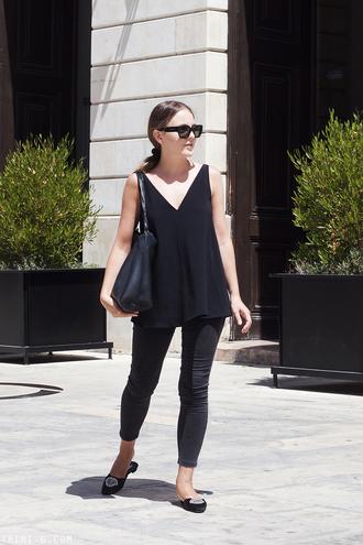 trini blogger sunglasses top jeans shoes bag black top black bag black pants fall outfits