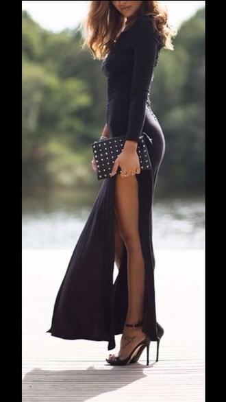 dress black thigh high slit long dress slit ma black dress slit maxi skirt black long dresses sexy long dresses thigh high slit maxi dress