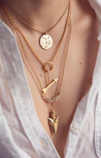 Gold layered coin/arrow/ring necklace by mir