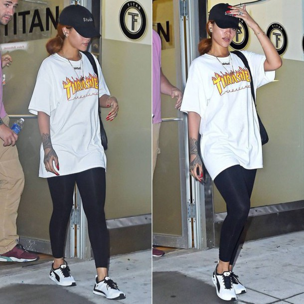 shirt clothes rihanna rihanna style thrasher streetstyle streetwear tattoo style skater thrasher shirt thrasher magazine t-shirt