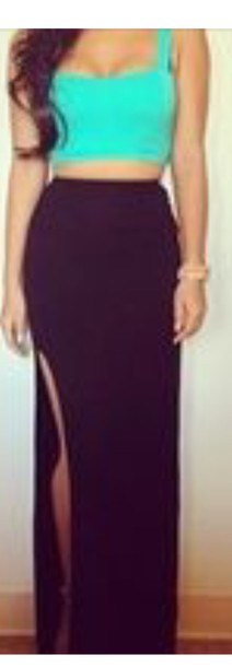 shirt black maxi skirt aqua crop top