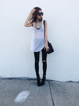 top dope outfit dope black black and white glasses black heels necklace bralette white tank top ripped jeans big necklace shoes jewels