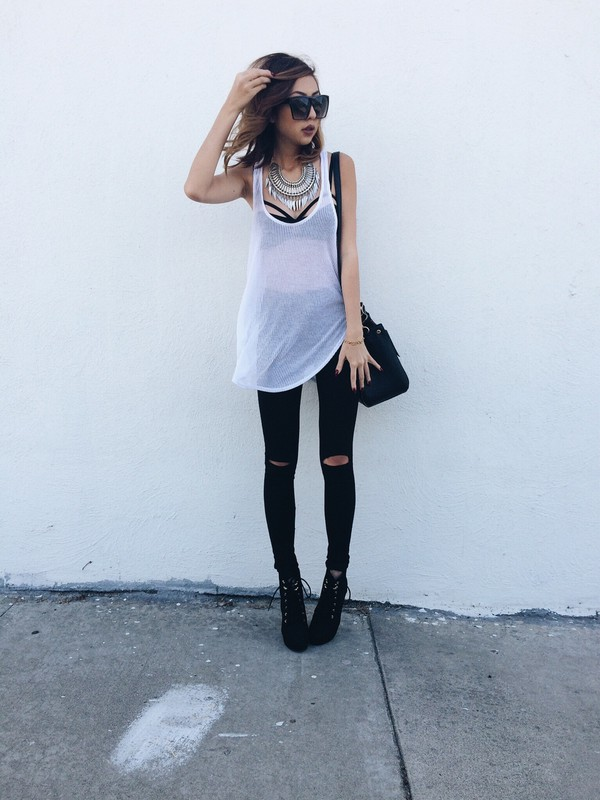 top dope dope black black and white glasses black heels necklace bralette white tank top ripped jeans big necklace shoes jewels bag jeans underwear t-shirt white t-shirt