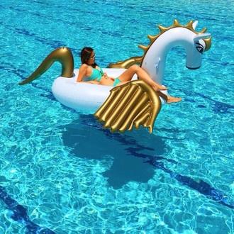 home accessory unicorn swimming pool pool party pool accessory pool swimming help gold white