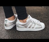 shoes,adidas superstar silver,silver sneakers,low top sneakers,adidas superstars,adidas,adidas shoes,adidas originals,silver adidas