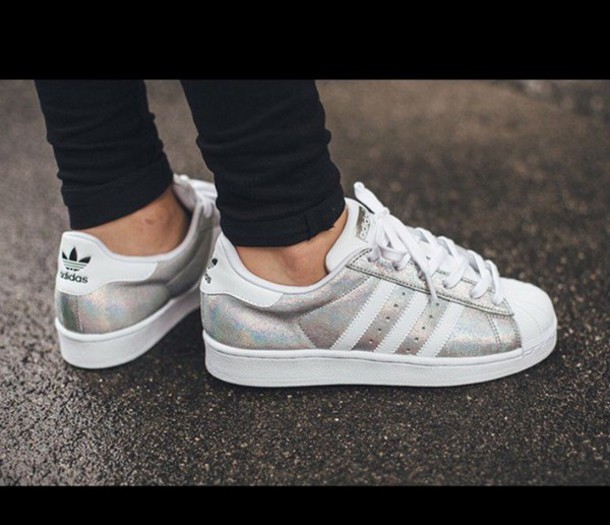 shoes, adidas superstar silver, silver
