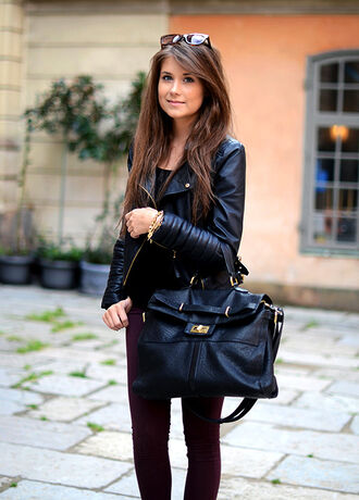 bag gold jacket leather mariannan details biker fall outfits pants