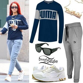 top puma grey dark blue rihanna rihanna style grey sweatpants blue sweater