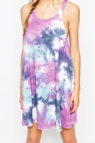 dress tie dye purple purple dress blue sleeveless sleeveless dress summer summer dress boho summer outfits spaghetti strap casual dope hippie pastel