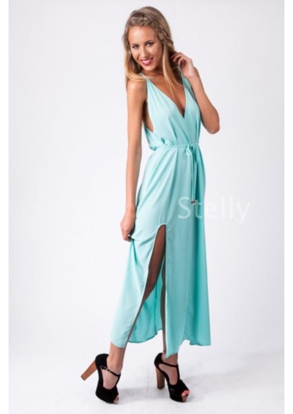 dress maxi dress mint leg split v neck dress low back tie up formal