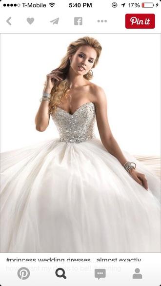 dress prom wedding pageant gown ehite white rhinestones