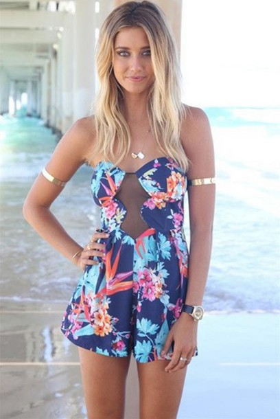 jumpsuit sexy lace high-waist printing jumpsuit