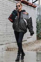 jacket,bomber jacket,hailey baldwin,model off-duty,celebrity,boots