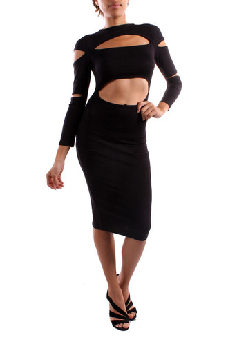 cut-out little black dress long sleeves bodycon dress clubwear fitted