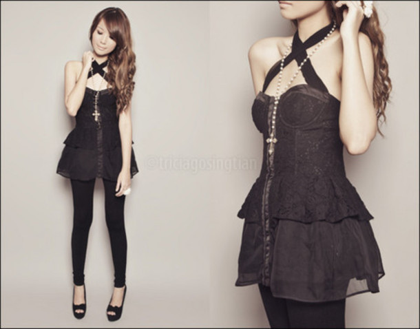 blouse corset emo goth black summer pretty cute ruffle lolita clothes