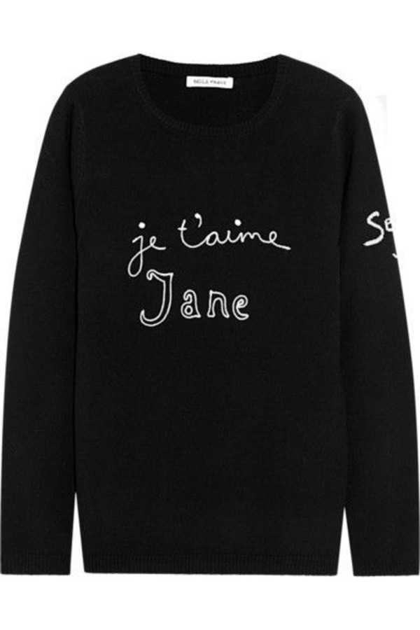 sweater bella freud black sweater letter print sweater