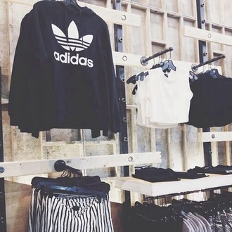sweater adidas black white adidas sweater black sweater white sweater girls boys/girls tank top