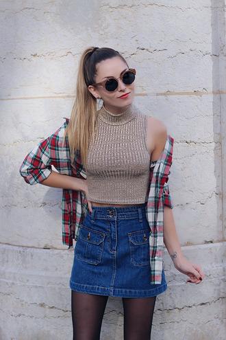 heels on gasoline blogger sleeveless knitted top plaid shirt denim skirt sleeveless top