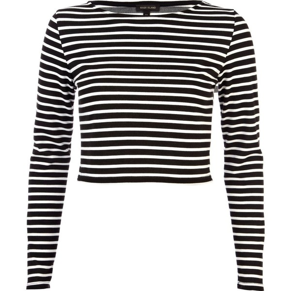 River Island Black long sleeve stripe crop top - Polyvore