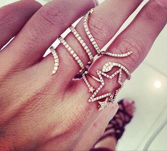 jewels ring pave stars snake