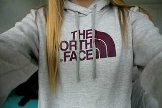 jacket north face heather grey grey burgundy hoodie sweater pullover cute