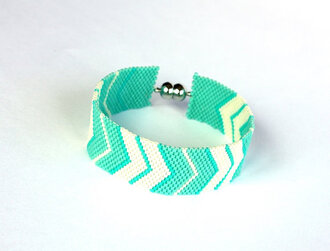 white jewels mint boho peyote chevron handmade bracelets cuff beadwork bracelet mintgreen womenjewelery gift ideas