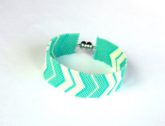 jewels white cuff peyote chevron handmade bracelets beadwork bracelet boho mintgreen mint womenjewelery gift for ideas gift for her