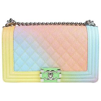 bag rainbow pink blue yellow leather leather bag chanel bag chanel designer bag crossbody bag