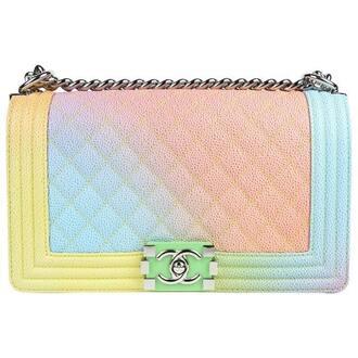 bag rainbow pink blue yellow leather leather bag chanel bag chanel designer bag crossbody bag