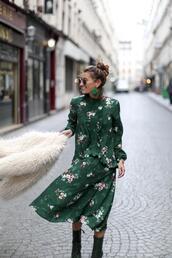 b a r t a b a c,blogger,dress,coat,shoes,jewels,sunglasses,green dress,spring outfits,floral dress