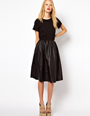 ASOS Midi Dress With Leather Skirt And Jersey Top at ASOS