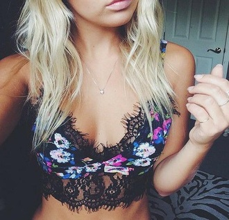 top colourful floral tank top boho chic boho shirt boho cute top lace bralette crop tops crop tops embrodering