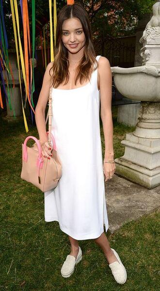 dress white dress midi dress miranda kerr sneakers purse shoes bag