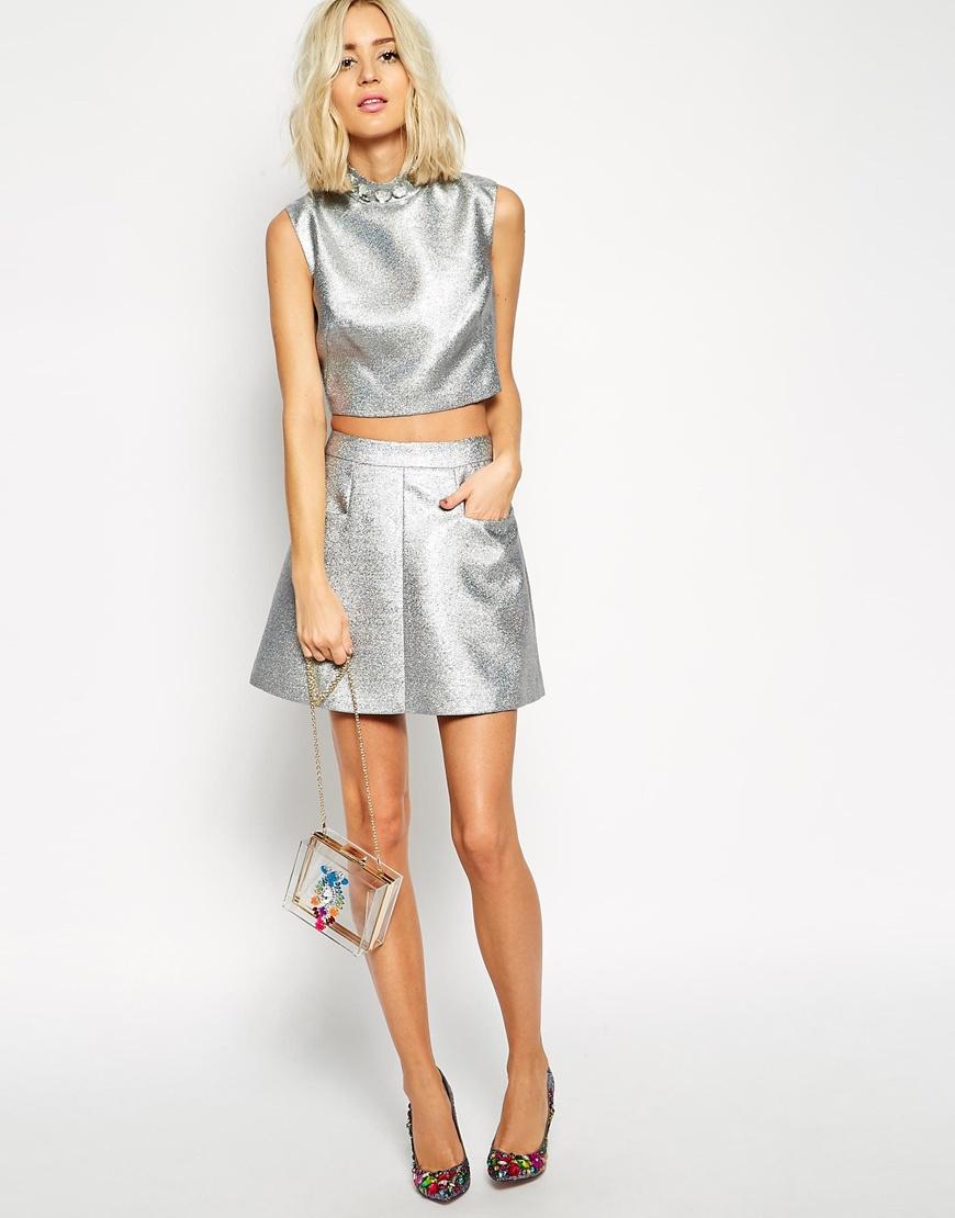 Asos black mini skirt in glitter at asos.com