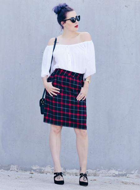 like a riot blogger sunglasses shirt bag skirt shoes make-up
