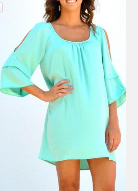 dress aqua dress clothes bell sleeves mint mint green dress cold shoulder