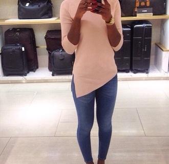 shirt roses asymmetrical pullover jeans