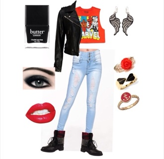 shirt marvel crop top angel earrings leather jacket black nails ripped jeans red lipstick black eyeshadow black combat boots ring jeans