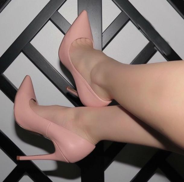 shoes high heels blogger stilettos pumps pink classy classic pointed toe  pointed toe heels High waisted