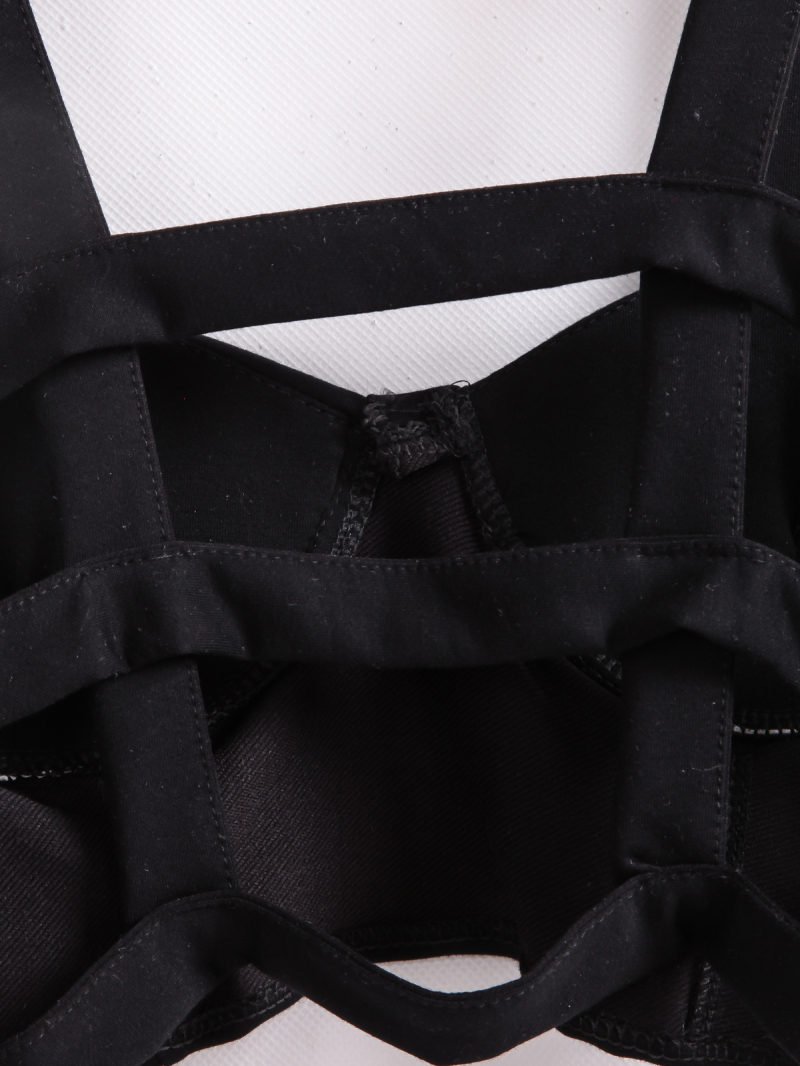 Black Spaghetti Strap Backless Crop Vest - Sheinside.com