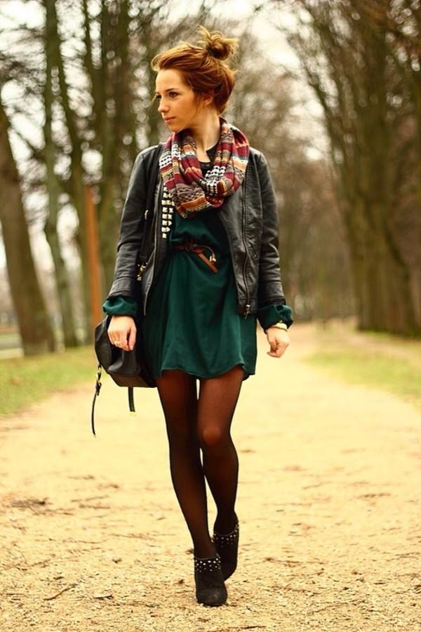 coat black coat green dress bag forest green scarf dress black high heels tights green dress infinity scarf black leather jacket black purse little black boots jacket leather pinterest