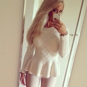 shirt,white,sweater,peplum,cozy,winter outfits,peplum top,blouse