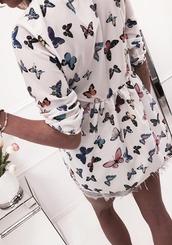 dress,round neck,butterfly print dress,fashion