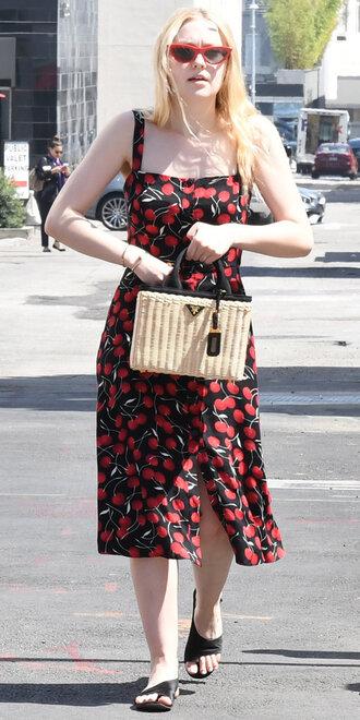 dress midi dress printed dress dakota fanning cherry streetstyle celebrity