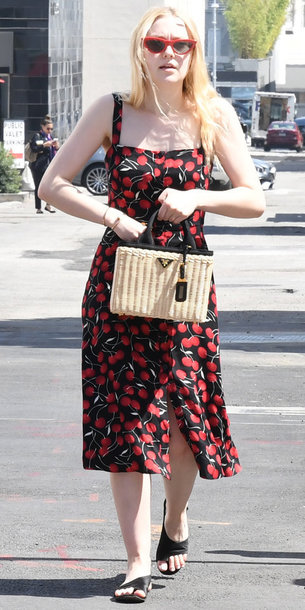 dress midi dress printed dress dakota fanning cherry streetstyle celebrity