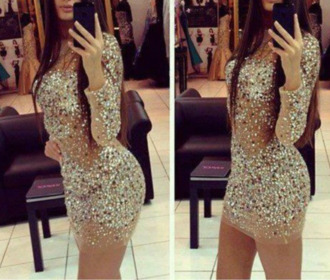 dress nude sequins gold sequins silver sequins party dress