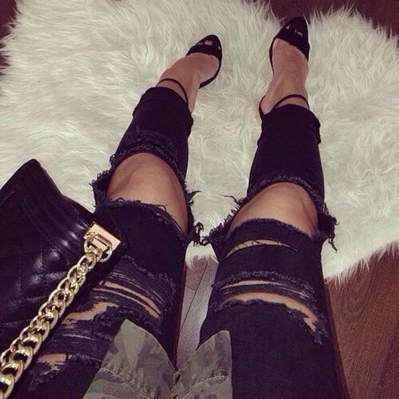 classy hot summer outfits ripped jeans denim skinny pants style streetwear streetstyle jeans high heels bag winter outfits black black heels hot pants platform shoes