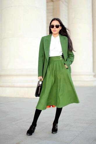aibina's blog blogger skirt sunglasses coat bag