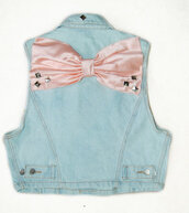 denim jacket,bow,jacket