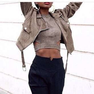 suede suede top high waisted pants black high waisted pants crop tops tan black pants suede jacket perfecto cut out crop top cut-out fall outfits fall jacket top taupe